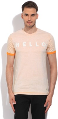 United Colors of Benetton. Printed Men's Round Neck Beige, Yellow T-Shirt at flipkart