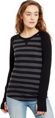 Hypernation Striped Women Round Neck Black, Grey T Shirt Hypernation Women's T shirts