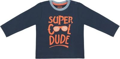 Wow Mom Boys Printed Cotton T Shirt(Dark Blue, Pack of 1)
