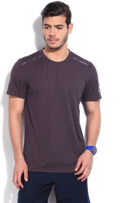 Adidas Solid Men's Round Neck Purple T-Shirt