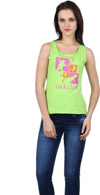 Imagica Printed Women's Round Neck Green T-Shirt  available at flipkart for Rs.280