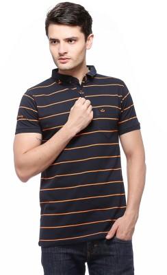 Fasnoya Striped Men's Polo Neck Black, Orange T-Shirt at flipkart