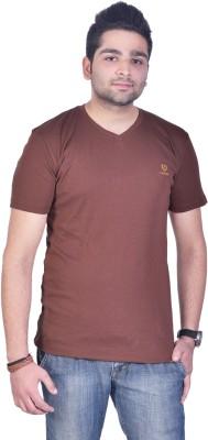 Colors & Blends Solid Men's V-neck Brown T-Shirt  available at flipkart for Rs.225