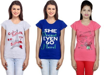 IndiStar Printed Women Round Neck Grey, Blue, Pink T Shirt Pack of 3