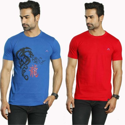 Albiten Solid Men's Round Neck Blue, Red T-Shirt(Pack of 2)