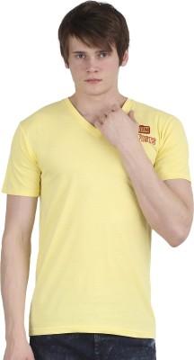 Tease Denim Embroidered Men's V-neck Yellow T-Shirt  available at flipkart for Rs.250