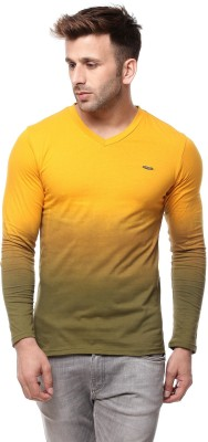 MOUDLIN Solid Men V-neck Black, Yellow, Maroon T-Shirt(Pack of 3)