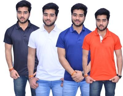 Himgiri Solid Men's Polo Neck Black, White, Blue, Orange T-Shirt(Pack of 4) at flipkart