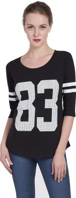 Alan Jones Printed Women Scoop Neck White, Black T Shirt