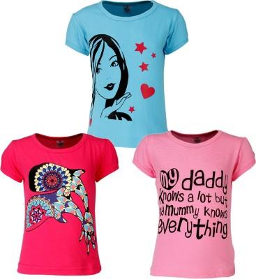 Gkidz Girls Printed T Shirt(Multicolor) at flipkart
