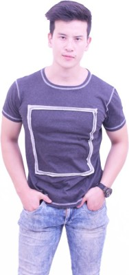 Jericho Applique Men's Round Neck Grey T-Shirt