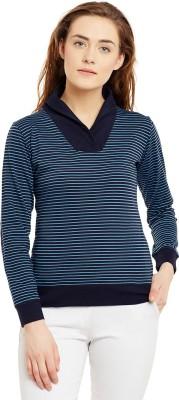 Hypernation Striped Women's V-neck Light Blue, Dark Blue T-Shirt