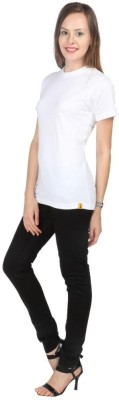 Campus Sutra Solid Women Round Neck White T Shirt