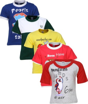 Gkidz Boys Printed Cotton T Shirt(Multicolor, Pack of 5)