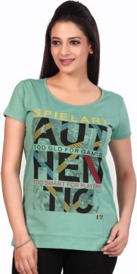 Fritzberg Printed Women Round Neck Green T-Shirt at flipkart