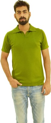 Oldberri Solid Men's Polo Neck Green T-Shirt
