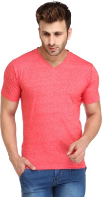 Campus Sutra Solid Men V-neck Red T-Shirt