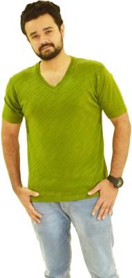 Oldberri Solid Men's V-neck Green T-Shirt