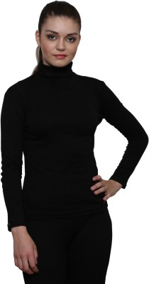 Le Bourgeois Solid Women High Neck Black T-Shirt
