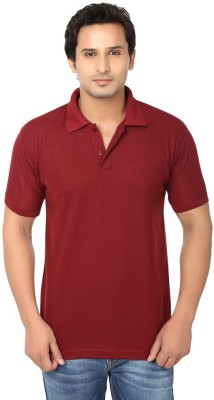 Ansh Fashion Wear Solid Men's Polo Neck Maroon T-Shirt