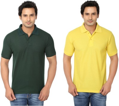 Keepsake Solid Men's Polo Neck Dark Green, Yellow T-Shirt(Pack of 2)