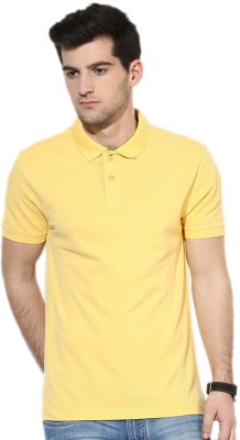 Go India Store Solid Men's Polo Neck Yellow T-Shirt