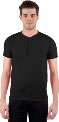 Gdivine Solid Men's Henley Black T-Shirt