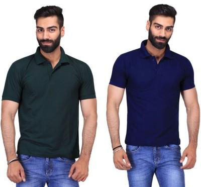 Fuego Solid Men's Polo Neck Dark Green, Dark Blue T-Shirt(Pack of 2)