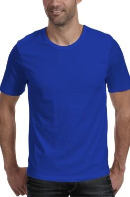 Moody's Kitchen Solid Men's Round Neck Blue T-Shirt