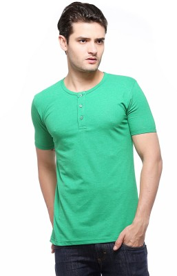 Fasnoya Solid Men's Henley Green T-Shirt at flipkart
