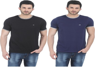Basics Solid Men Round or Crew Blue T-Shirt(Pack of 2) at flipkart