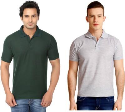 Keepsake Solid Men's Polo Neck Dark Green, Grey T-Shirt(Pack of 2)