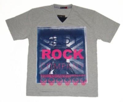 Miracle Printed Boys V-neck Grey T-Shirt