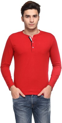 TSX Solid Men's Henley Red T-Shirt at flipkart