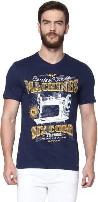 Celio Graphic Print Men's V-neck Dark Blue T-Shirt