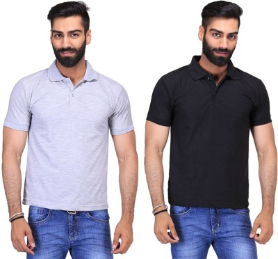 Fuego Solid Men's Polo Neck Black, Grey T-Shirt(Pack of 2)
