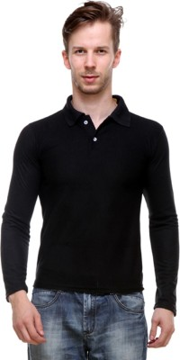 Amitgroup Solid Men Polo Neck Reversible Black, Blue T-Shirt(Pack of 2)