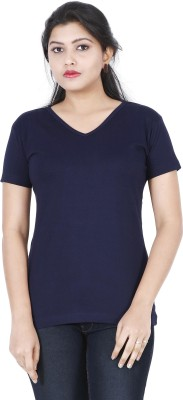 FLEXIMAA Solid Women V-neck Dark Blue T-Shirt