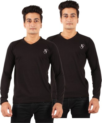 FTrick Solid Men's V-neck Black T-Shirt(Pack of 2)