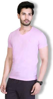 LUCfashion Solid Men's V-neck Pink T-Shirt  available at flipkart for Rs.155