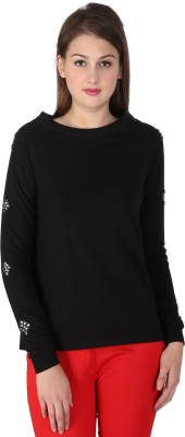 SF Jeans by Pantaloons Solid Women Boat Neck Black T-Shirt