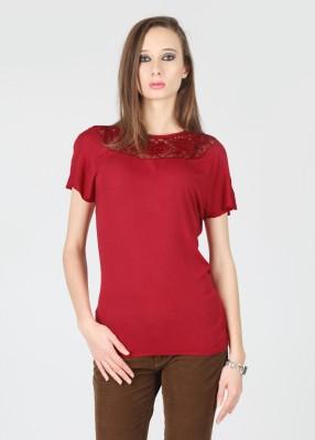 Flying Machine Solid Women Round Neck Red T-Shirt at flipkart