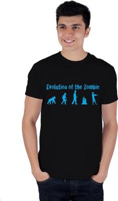 Enquotism Printed Men's Round Neck Blue T-Shirt