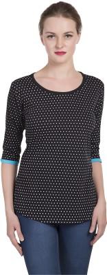 Alan Jones Polka Print Women's Scoop Neck Black T-Shirt