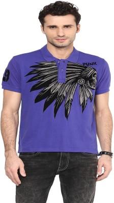 PUNK Printed Men's Polo Neck Purple T-Shirt