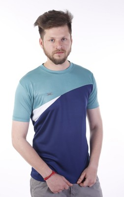Zagros Solid Men's Round Neck Dark Blue, Green T-Shirt