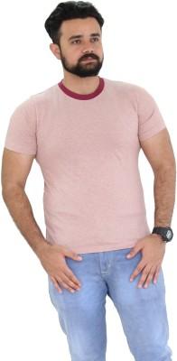 Oldberri Solid Men's Round Neck Pink T-Shirt