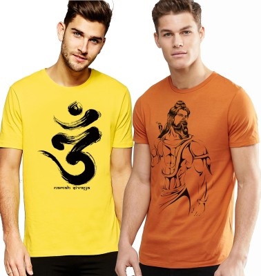 Young Trendz Printed Men Round or Crew Multicolor T-Shirt(Pack of 2)