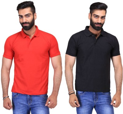 Fuego Solid Men's Polo Neck Black, Red T-Shirt(Pack of 2)