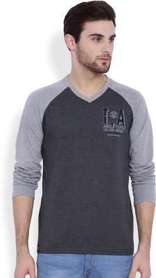 La Seven Solid Men's V-neck Black T-Shirt